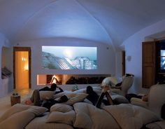 pillows everywhere? check.   movie theatre sized screen? check.