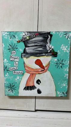 ORIGINAL He Began to Dance Around Snowman by shabbygirlcreations