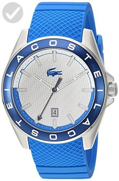 Lacoste Men's 'Westport' Quartz Stainless Steel and Silicone Casual Watch, Color:Blue (Model: 2010905) - Mens world (*Amazon Partner-Link)