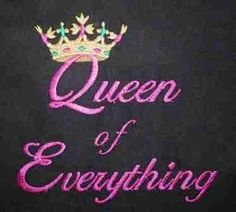"""""""Queen of Everything"""" custom embroidered kitchen apron."""