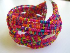 'Fashionable Multi Colors Beaded Cuff' is going up for auction at  4am Tue, Sep 18 with a starting bid of $1.