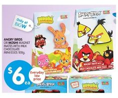 Angry Birds Or Moshi Magnet Mates With Milk Chocolate Mini Eggs 100g