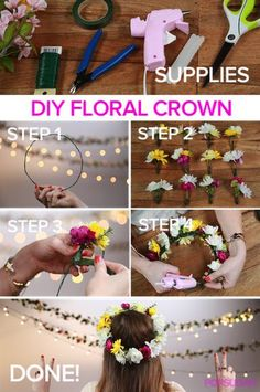 Be a boho DIY'er - make your own floral crown #DIY #festivalfashion