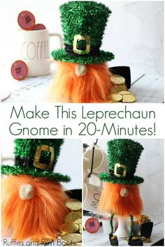 Gnome - A sock gnome for St. Patrick& Day Leprechaun Gnome - A sock gnome for St. Patrick's Day,Leprechaun Gnome - A sock gnome for St. St. Patrick's Day Diy, Fete Saint Patrick, Gnome Tutorial, St Patricks Day Crafts For Kids, Diy St Patricks Day Decor, Diy St Patricks Day Outfit, St Patricks Day Food, Saint Patricks, Saint Patrick's Day