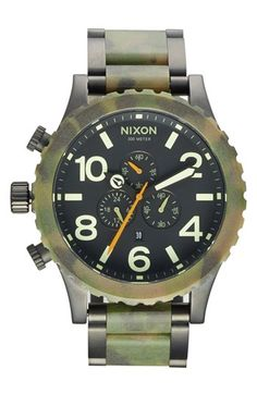 $329, The 51 30 Chronograph Bracelet Watch 51mm Camo Matte Black by Nixon. Sold by Nordstrom. Click for more info: http://lookastic.com/men/shop_items/65566/redirect
