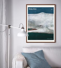 Decor your walls with your favourite books. - Herman Melville Moby-Dick, large bookish art poster by RedHill Printables