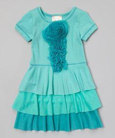 Love this Aqua Tiered A-Line Dress - Toddler & Girls on #zulily! #zulilyfinds