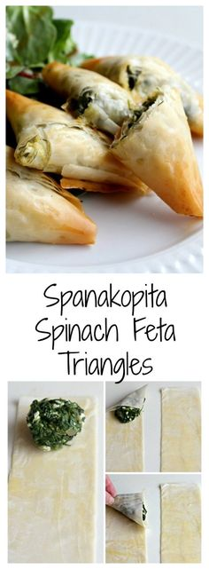 Spinach Feta Spanakopita Triangles look great, taste fantastic and are totally vegetarian. Here are the step by step instructions. I know you'll love them! (Italian Chicken And Potatoes) Spinach Recipes, Vegetarian Recipes, Cooking Recipes, Healthy Recipes, Turkish Recipes, Greek Recipes, Ethnic Recipes, Samosas, Fingers Food