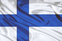 Finnish flag waving on canvas by Eti Reid