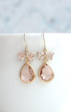 Blush Peach Bows Peach Glass Drop Dangle Earring
