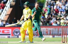 Dale Steyn of the Proteas celebrates the wicket of Steven Smith of Australia during the 2nd Momentum ODI Series match between South Africa and...