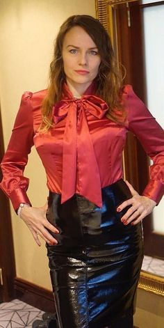 "artisjackson: ""So hot "" Perfect combination for The Dominatrix!A very critical look. hoping she approves Crazy of fashion, art, golf and sailing. Sexy Blouse, Blouse And Skirt, Blouse Dress, Dress Skirt, Pvc Skirt, Satin Skirt, Satin Dresses, Corset Dresses, Skirt Outfits"