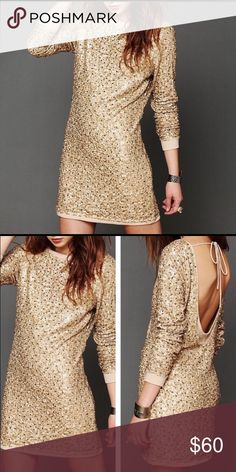 FREE PEOPLE Gold sequin long sleeve open back dres Free People gold sequin long sleeve mini dress with open scoop back and a tie closure. Ribbed trimming on hem and fully lined. Bought and never wore. NWT *NO TRADES, reasonable offers only* Free People Dresses Mini