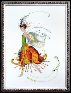 Selling Pixie Couture Collection - Tiger Lily From Mirabilia Design - Nora Corbett - Price: € - Casa Cenina Modern Cross Stitch, Cross Stitch Charts, Cross Stitch Designs, Cross Stitch Patterns, Cross Stitch Fairy, Cross Stitch Angels, Cross Stitching, Cross Stitch Embroidery, Everything Cross Stitch