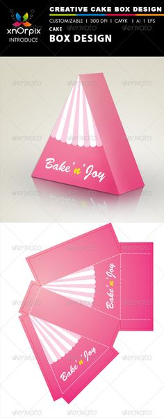 Cake Box - #Packaging Print Templates Download here: https://graphicriver.net/item/cake-box/2501175?ref=alena994