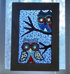 Items similar to Mosaic Owls Glass on Glass Window Panel on Etsy Mosaic Art, Mosaic Glass, Mosaic Animals, Make Happy, Owl Art, Window Panels, Stained Glass Windows, Craft Activities, Yard Art