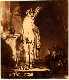 Rembrandt drawing from a model, pen and brown iron-gall ink with broan wash and touched with white on paper washed down, 1639, British Museum, London.