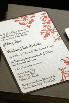 Leaves Wedding Invitation SAMPLE SET by crackeddesigns on Etsy, $5.00