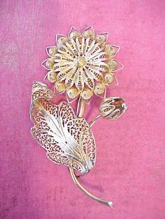 Beautiful and Intricate Vintage Silver Filigree Flower Brooch: