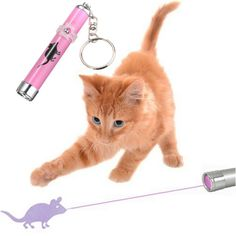 Pet Cat Play Toy LED Laser Pointer Light with Bright Mouse Animation at Banggood