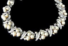 Lisner Pearl Rhinestone Necklace Aurora by EclecticVintager