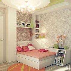 Fascinating Bedroom Ideas For Young Women Peach Gray Green Scheme Design Patterned Wallpaper Design Tufted Headboard Modern Chandelier