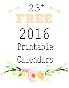 Calendar pages for 2016...lots of free printable monthly calendars and year-at-a-glance versions.
