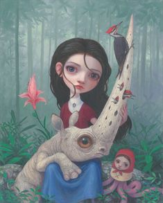 """I LOVE this new work by Thomas Ascott SO MUCH! """"Nestled"""" [oil on board] . """"I love the idea of rhinos secretly living in the Smoky Mountains. My version of the Smokies kind of has it's own. Modern Surrealism, Pop Surrealism, Macabre Art, Anatomy Art, Lowbrow Art, Arte Pop, Weird Art, Realism Art, Art Store"""