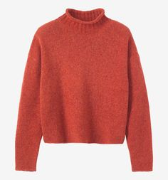 Soft, heathery pullover in Italian-spun, mid gauge merino wool. High neck with…