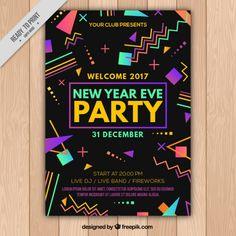 Nova brochura partido do ano com formas geométricas coloridas Vetor grátis