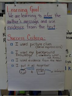 Inference learning goal / success criteria