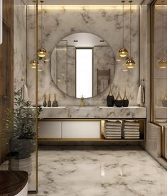 25 Elegant Bathroom Lighting That Enhance Your Bathroom& Elegant Appeal ---------------------------------------------------------------Decorative lighting ideas to beautify the minimalist bathroom with lamps abov Bad Inspiration, Bathroom Inspiration, Ideas Baños, Decor Ideas, Decorating Ideas, Inspire Me Home Decor, Bathroom Interior Design, Marble Interior, Restroom Design