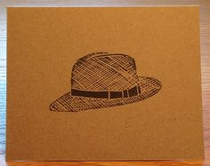 Panama hat linocut card by LinoGal on Etsy, $1.75