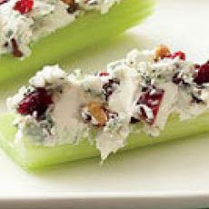 Blue Cheese, Pecan & Dried Cranberry stuffed Celery