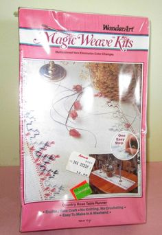 "Country Rose Table Runner Wonder Art Magic Weave Kit Sealed 15"" x 56"" 1990 USA #MagicWeaveWonderArt"