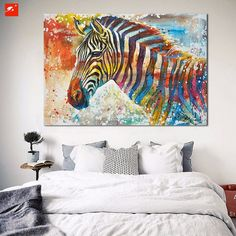 1 Panel Unframed Colorful Zebra Oil Painting  Moden Wall Canvas Art