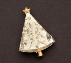 Eisenberg Lucite Christmas Tree Pin, Gold Tone with Clear Rhinestones