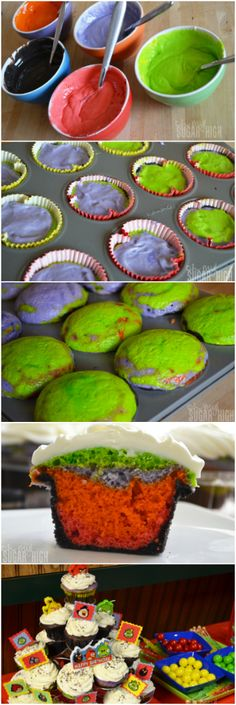 Colorful Cupcakes with Creamy Cream Cheese Frosting - Angry Birds Space theme