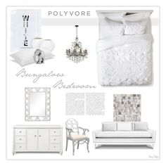 """Bungalow Bedroom in Winter White"" by mcheffer ❤ liked on Polyvore featuring interior, interiors, interior design, home, home decor, interior decorating, Boho Boutique, Bungalow 5, Jonathan Adler and CB2"