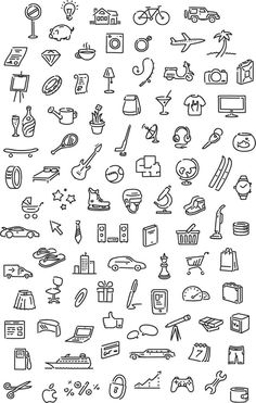 General Icons for doodles Doodle Drawings, Easy Drawings, Mini Drawings, Flower Drawings, Sketch Notes, Bullet Journal Inspiration, Small Tattoos, Banners, Sketches
