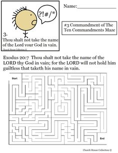 coloring pages for kids each 10 commandments | Thou Shalt Not Take The Lords Name In Vain Maze