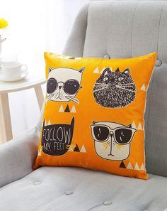Cartoon series linen cloth sofa pillow 43 * 43cm (yellow cool cat)