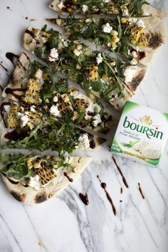 @cookingwithring is elevating their outdoor dining this summer with an easy flatbread topped with creamy Boursin, charred smoky corn, peppery arugula and a drizzle of balsamic glaze. Get more inspo for creative summer entertaining and try this glamping-inspired Boursin recipe for yourself at GlampBoursin.com Healthy Snacks, Healthy Recipes, Good Food, Yummy Food, Intuitive Eating, Aesthetic Food, Food Cravings, Food To Make, Clean Eating