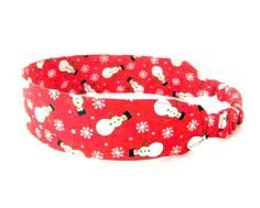 Snowman Snowflake Red Fabric Headband  by NewEnglandQuilter, $8.00 #etsysns