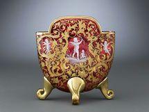 Moser Enameled Cranberry Pillow Vase