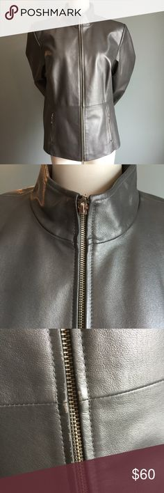 "Silver Leather Jacket EUC with just a tiny bit of wear on the zipper shown in photo, this fabulous, funky jacket is leather with a polyester lining. Measures bust 45"" length 25"", sleeve length 24.5"" Runs large. Terry Lewis Classic Luxuries Jackets & Coats"