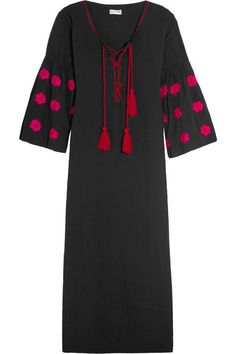 Black cotton Slips on 100% cotton Hand wash These pieces are hand-embroidered and therefore may differ from that pictured Imported