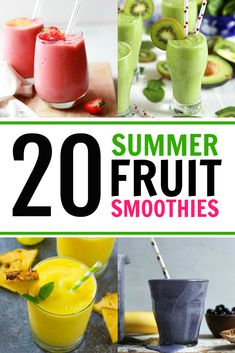 Want an easy way to sneak in some veggies into your kids' diet? A handful of spinach goes unnoticed in an amazing smoothie. We rounded up 20 Summer Fruit Smoothies for you to try! Fresh Orange Smoothie Recipe, Mango Smoothie Recipes, Almond Butter Smoothie, Fruit Smoothies, Dragon Fruit Smoothie, Ginger Smoothie, Strawberry Banana Smoothie, Avocado Smoothie, Family Fresh Meals