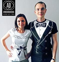 Одинаковые парные футболки для молодоженов с принтами и надписями на заказ, подарок на свадьбу молодоженам - смокинг фрак и платье от ARKASH...