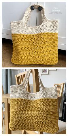 Crochet Clutch Bags, Crochet Beach Bags, Free Crochet Bag, Crochet Market Bag, Diy Crochet, Crochet Bags, Simple Crochet, Easy Tote Bag Pattern Free, Free Pattern